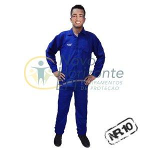 c2d75dd3e6 Uniforme Eletricista NR10 Risco 1 e 2 Conjunto Calça e Camisa Azul  Retardante a Chama ( Antichama )